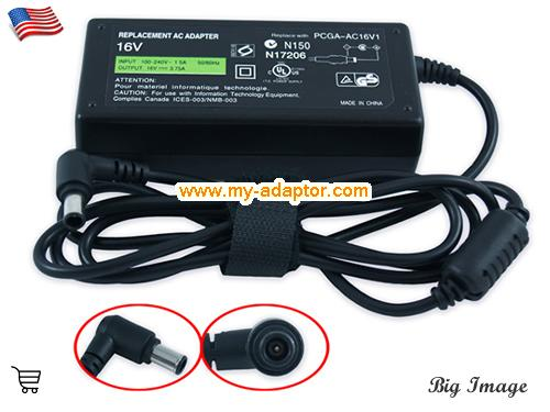 PCG-V505 CTO Laptop AC Adapter, SONY 16V-3.75A-PCG-V505 CTO Power Adapter, PCG-V505 CTO Laptop Battery Charger