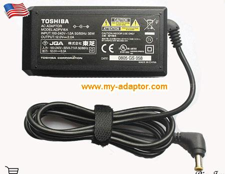 SDP75U Laptop AC Adapter, TOSHIBA 12V-2A-SDP75U Power Adapter, SDP75U Laptop Battery Charger